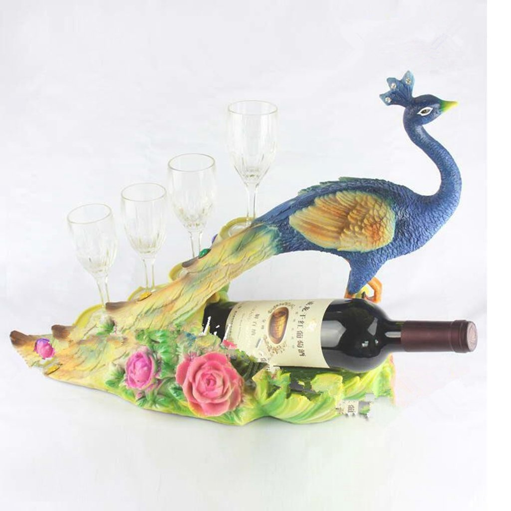 Jingzou Resin wine rack peacock wine rack with glasses Decoration creative home hotel decoration crafts50x18x36cm