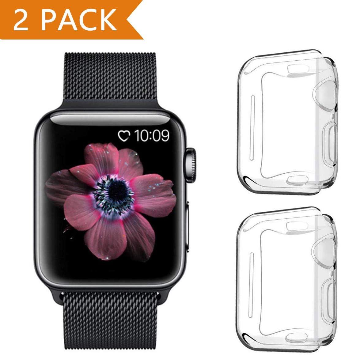 PEYOU Funda para Apple Watch 44mm Series 4/Series 5 (2 Unidades), Suave TPU Funda [Cobertura Completa] [Ultra Delgado][HD Claro ][Anti-Arañazos] para Apple Watch Series 4/Series 5 (44mm)