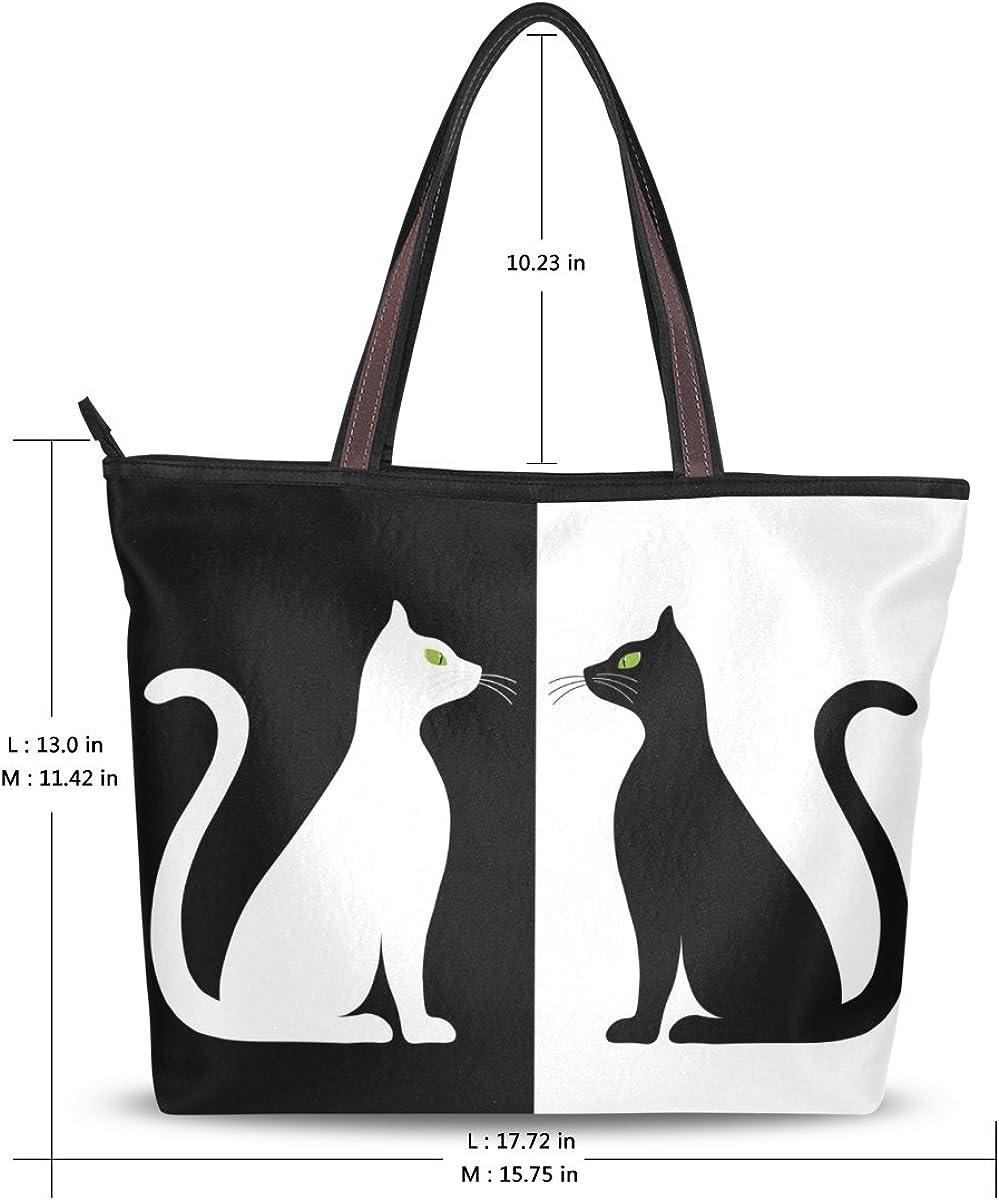 Women Tote Bag Large Handbag Black White Cats Silhouette Shopping Travel Shoulder Bag