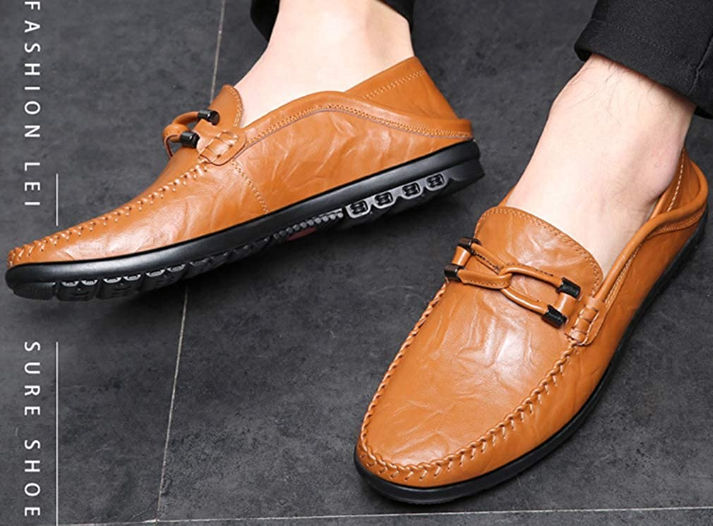 Femaroly Man Casual Business Leather Shoes Loafers Shoes Leather Soft Breathable Youth Driving Walking Oxford Dress Shoes 7.5M|Yellow B07GT4CK63 d76b06