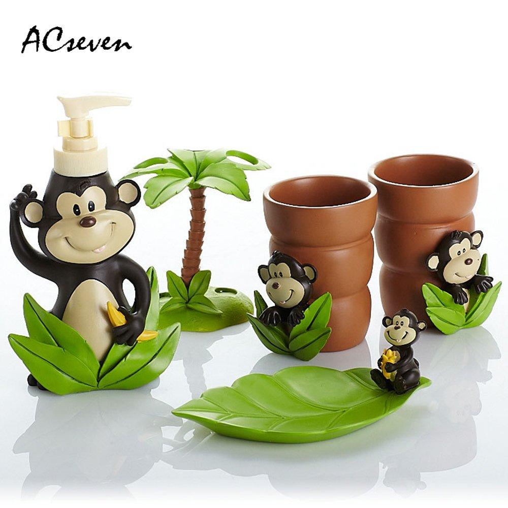 Cute Elf Monkey 5 Pieces Bathroom Accessory Set, Creative Soap Dish Liquid Soap Dispenser Toothbrush Holder Tumbler