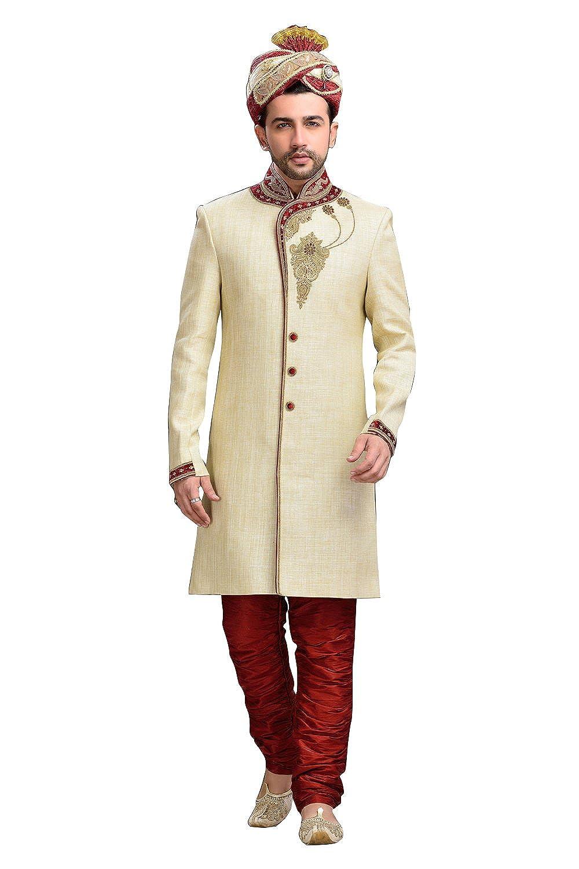 c2a1dbafc74b Modern Cream Cream Cream Jute Silk Indian Wedding Sherwani For Men a34aa8