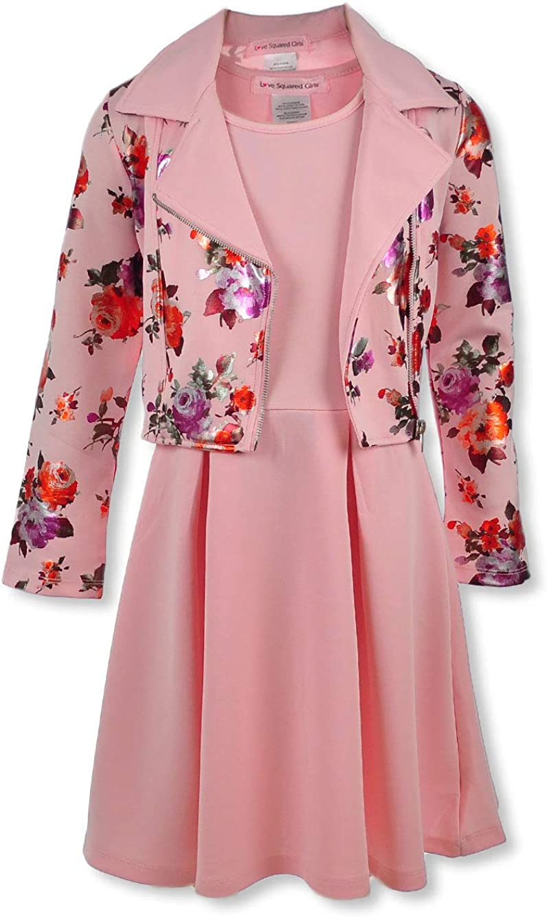 Love Squared Girls Girls Blossom Moto 2-Piece Dress Set