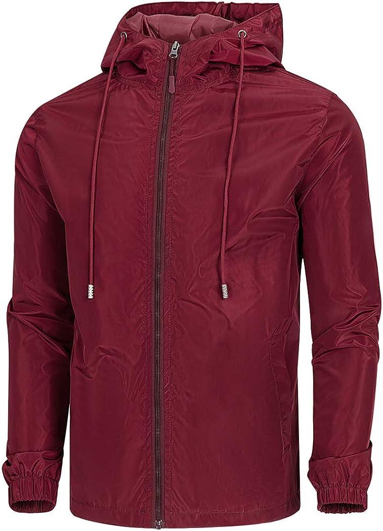 WULFUL Mens Hooded Waterproof Lightweight Windbreaker Jacket Casual Outdoor Jackets