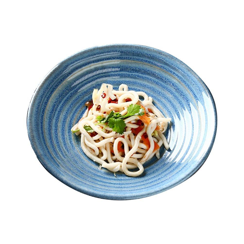 LXY Keramische Schüssel Japanische Grüne Wellen-Reihe Kreative Hauptrestauranttellerschüssel-Suppenschüssel-Salatschüssel Flach Schüssel