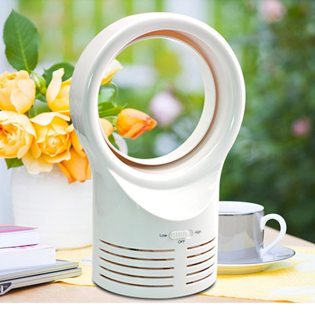 LCLrute ventilateur portable, Ventilateur de Table Technologie Air Multiplier , Nouveau Pure Cool Le ventilateur portatif sans lame de bureau refroidissent le ventilateur frais bas à faible bruit (blanc)