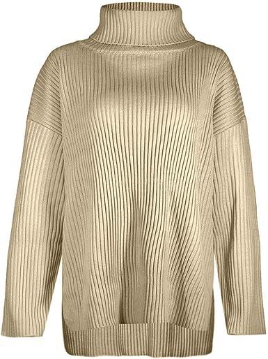 Surfiiy Donna Jersey Cuello Alto Mujer algodón Jerseys Invierno suéter Mujer Elegante suéter suéter Mujer Elegante jerséis Chica Invierno: Amazon.es: Ropa y accesorios