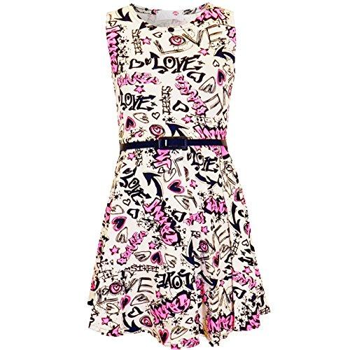 4a647699a6a5c6 Kids Girls Love Comic Graffiti Print Legging Skater MIDI Dress Crop TOP  Skirt New Age 2-13 YAERS - Buy Online in Oman.