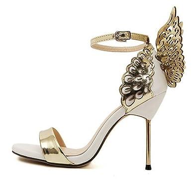 cbb8e0a21d7e9 Amazon.com   Women Strap Butterfly Wings Pump High Heel Open Toe Princess Ankle  Sandals Comfortable Shoes   Heeled Sandals