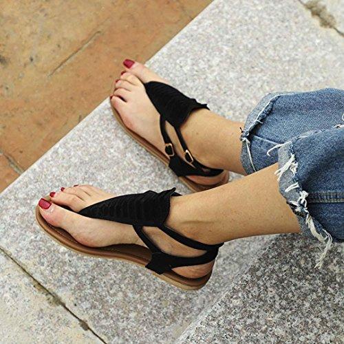 Gürtel Strand Flip Frauen Heel Flat HKFV Schuhe Low Flops Sandalen Flops Hausschuhe Sommer Flip Abzug Böhmen Damen Sandalen Schwarz Strandschuhe AxRqOz