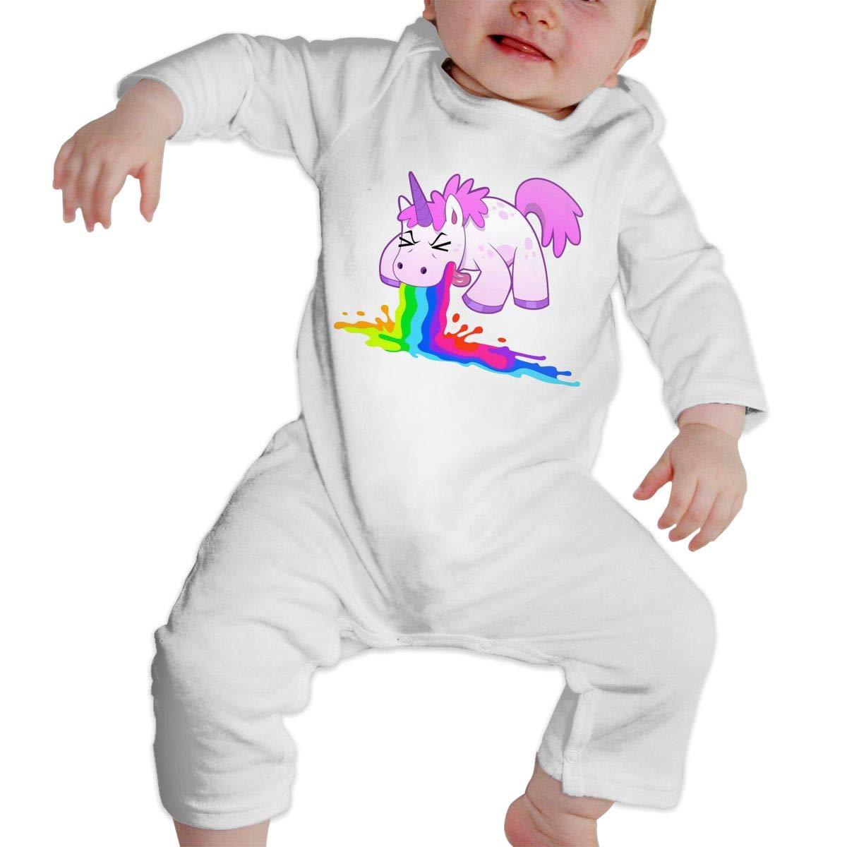 CharmKAT Unisex Baby Crew Neck Long-Sleeve Solid Color Romper Jumpsuit