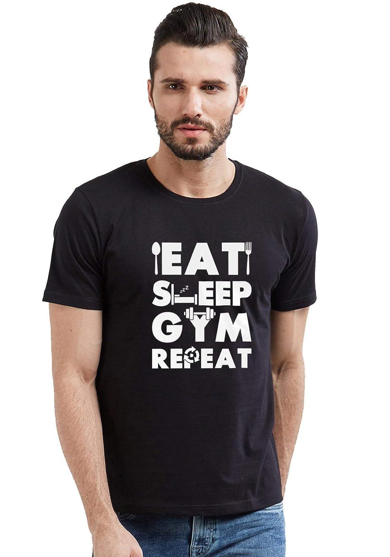 WYO Men's Cotton Causal Half Sleeve Round Neck Printed T-Shirt...