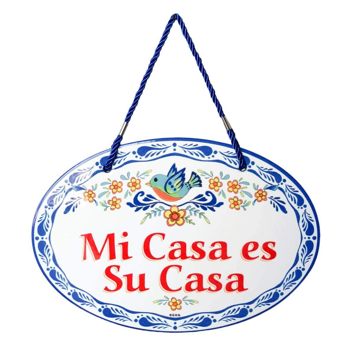 Essence of Europe Gifts E.H.G Mi Casa ES Su Casa Decorative Spanish Gift Outdoor Welcome Regalos Originales Latino Hispanic Ceramic Front Door Sign