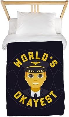 CafePress Emoji Okayest Pilot Twin Duvet Cover, Printed Comforter Cover, Unique Bedding, Microfiber