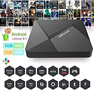 DOLAMEE D5 Android TV Box, Fully Loaded Android 5.1 Lollipop Os Streaming Media Players XBMC / Support 4K UltraHD TV with Rockchip RK3229 Quad-core 2.4G Wifi 1G / 8G
