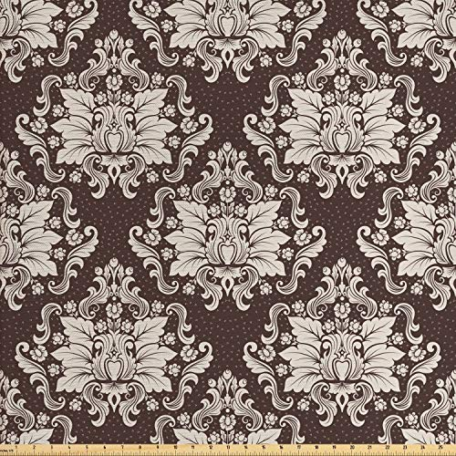 - Ambesonne Damask Fabric by The Yard, Victorian Floral Pattern with Blooming Foliage Leaves on Dark Toned Backdrop, Decorative Fabric for Upholstery and Home Accents, 1 Yard, Brown and Beige