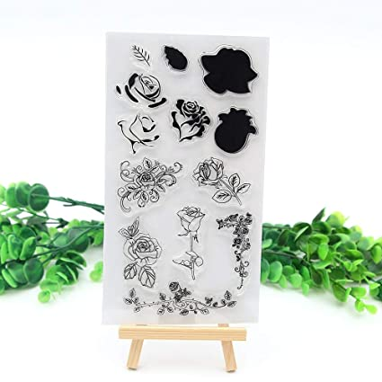 Amazon.com: Clear Stamp Roses Clear Stamps Flowers for Scrapbooking ...