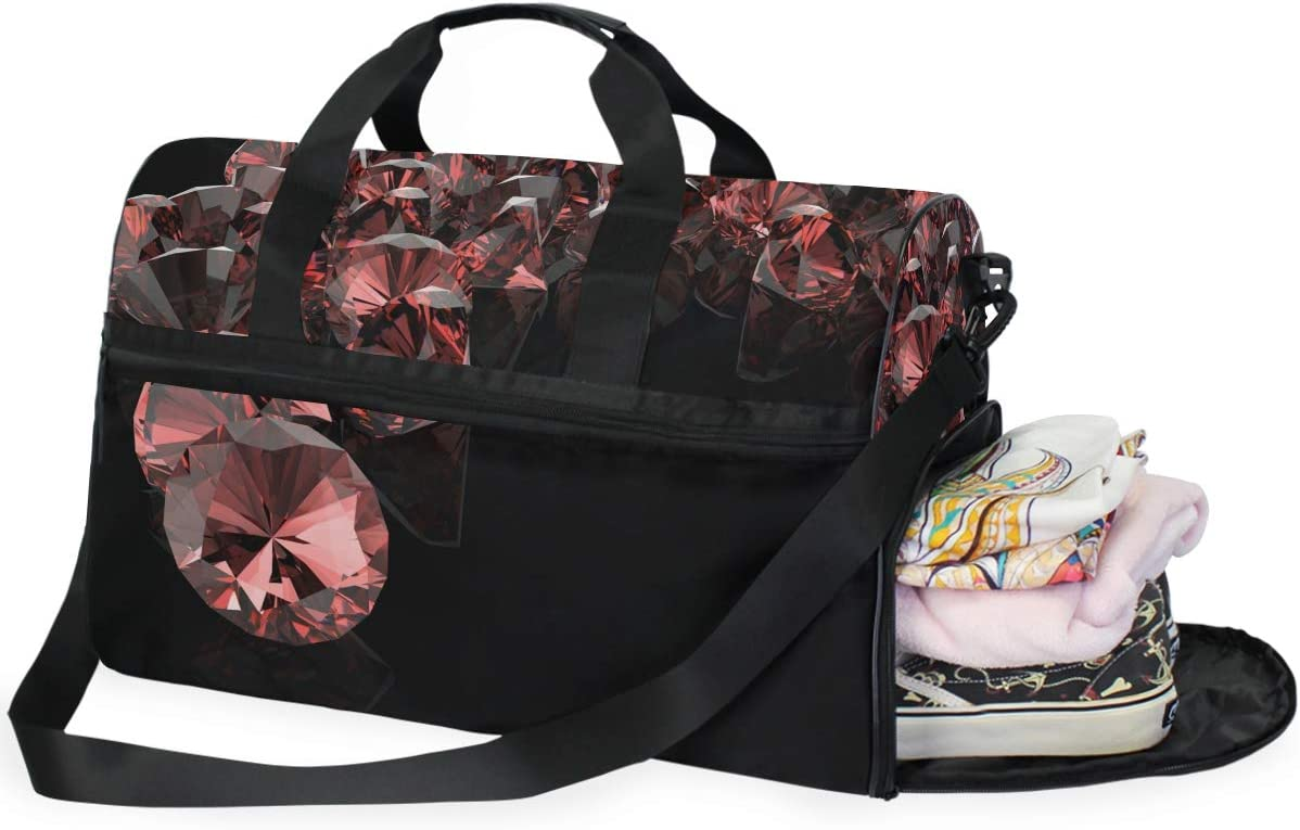 FAJRO Duffle Bag for Women Men Red Shinning Diamond Travel Duffel Bag Large Size Water-proof Tear Resistant