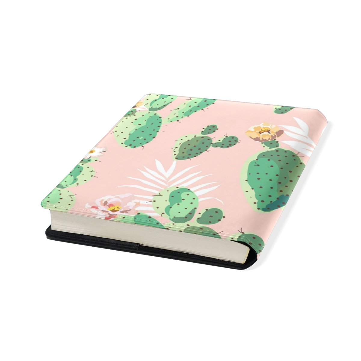 Cacti Stretchable Leather Book Covers Standard Size for Student Hardcover Textbooks Fits up to 9x11-Inch for School Girls Boys Gift