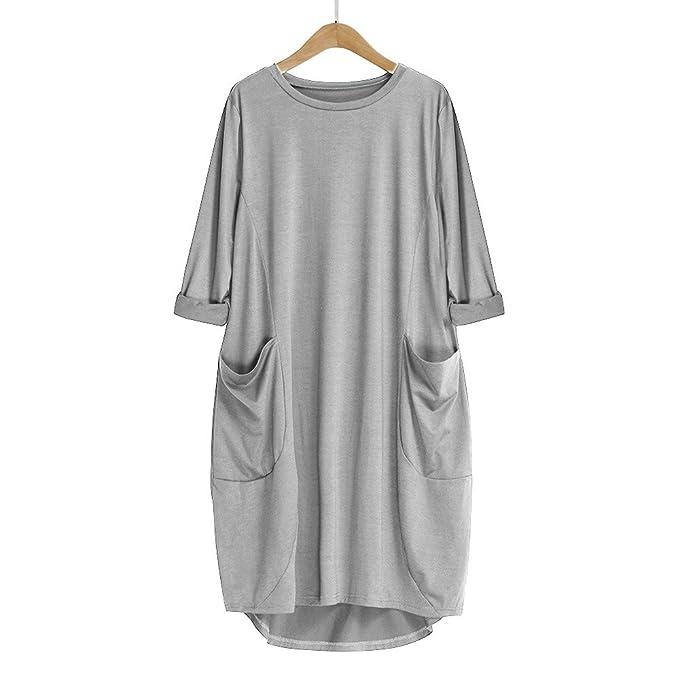 LUCKYCAT Vestido Suelto de Bolsillo para Mujer de Cuello Redondo con Cuello en V Casual Tops Tallas Grandes