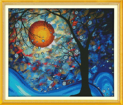 YEESAM ART® New Cross Stitch Kits Advanced Patterns for Beginners Kids Adults - Tree Of Dreams 11 CT Stamped 79×68 cm - DIY Needlework Wedding Christmas Gifts - Graduation Cross Stitch Patterns