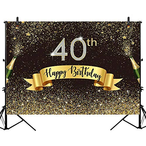 40th Birthday Backdrop (Allenjoy 7x5ft Happy 40th Birthday Black and Gold Backdrop Shiny Glitter Golden Dot Forty Years Old Age Adults Photography Background Glamour Sparkle Party Banner Decors Celebration Event Photo)