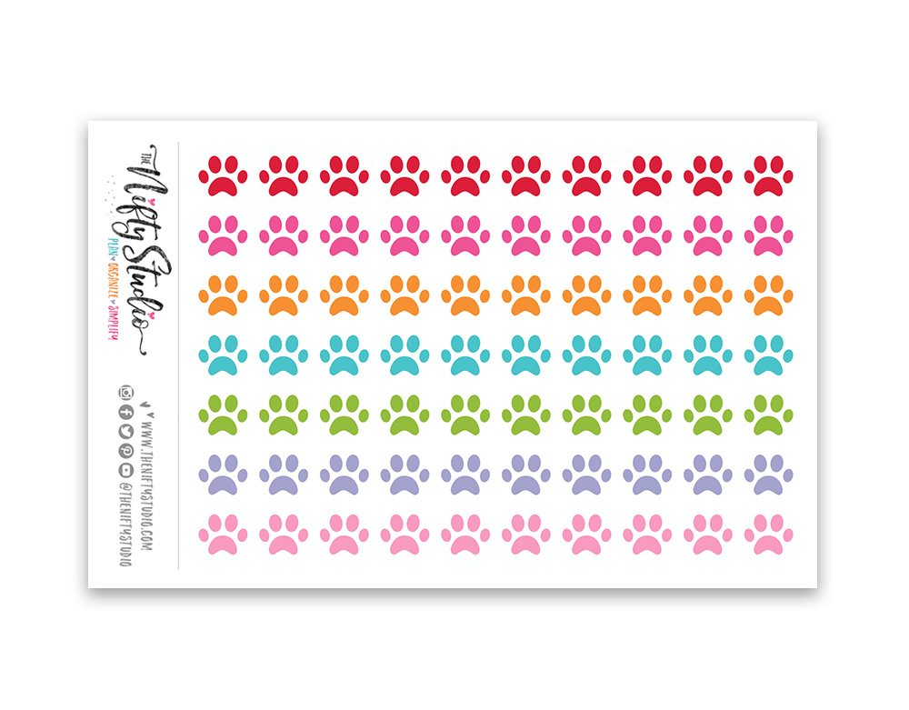 Paws Stickers The Nifty Studio 146 Pet Planner Stickers 1 sheet of 70 stickers
