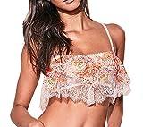 Victorias Secrets Pink Crochet Lace Flutter Flounce Bandeau Bralette Size Medium