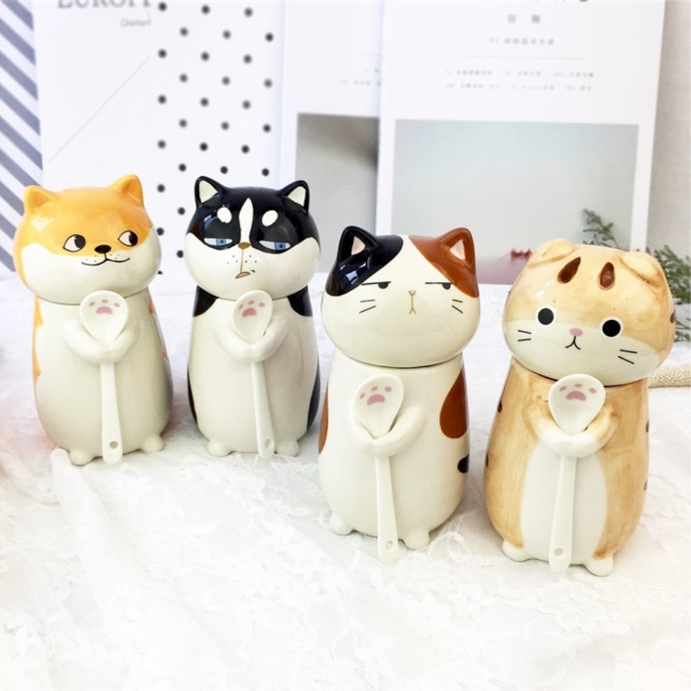 3D Cat Funny Ceramic Mugs Gift Best Decorative Animal Coffee Cup Set with Lid and Spoon