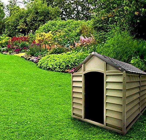 Caseta para perros de tamaño grande-medio, de resina PVC, tejado inclinado, para exterior, para jardín, desmontable, 78 x 84 x 80 cm, beis/marrón.: Amazon.es: Jardín