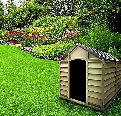Caseta para perros de tamaño grande-medio, de resina PVC, tejado inclinado,