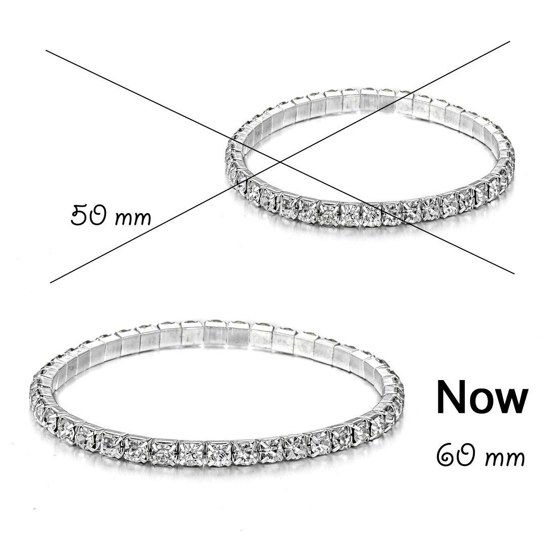 JEWMAY Yumei Jewelry 1-Strand Rhinestone Stretch Bracelet Silver-tone Wedding Tennis Bracelet Sparkling Bridal Bangle Ankelt,6.5'' - 8''