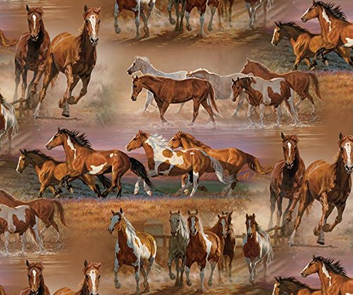 Horses in The Field Cotton Fabric by The - Fabric Horse Quilt