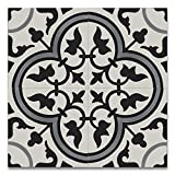 Moroccan Mosaic & Tile House CTP33-03 Casa 8''x8'' Handmade Cement Tile in Gray and Black (Pack of 12), GrayBlack White