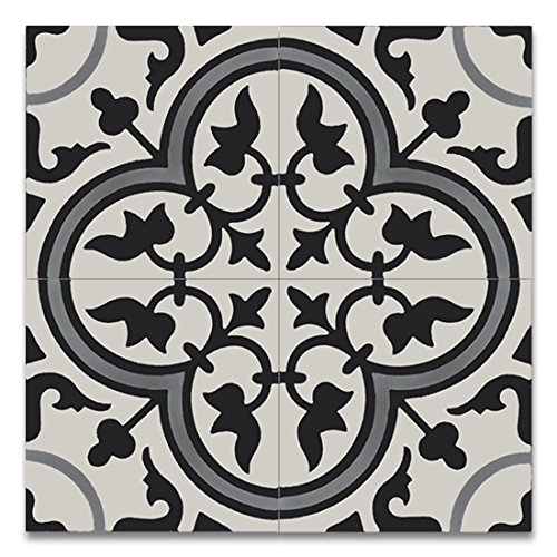 Moroccan Mosaic & Tile House CTP33-03 Casa 8''x8'' Handmade Cement Tile in Gray and Black (Pack of 12), GrayBlack White by Moroccan Mosaic & Tile House