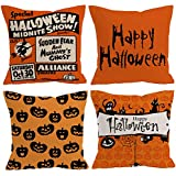 "E-Livingstyle Happy Halloween Decorative Cotton Linen Square Burlap Throw Pillow Case Cushion Cover -18""x 18"" (Set of 4 pack) (style 1)"