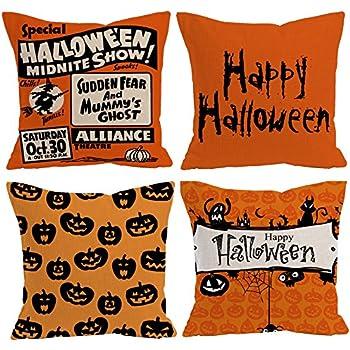 "E-Livingstyle Happy Halloween Decorative Cotton Linen Square Burlap Throw Pillow Case Cushion Cover -18""x 18"" (Set of 4 pack) (style 1)"
