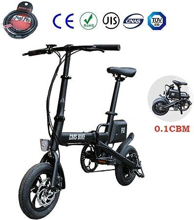 Zhixing Plegable Bicicleta Eléctrica City Montaña Unisex Adulto 12 5V Doble Freno Disco 36 V 6 Ah Desmontable Batería de Litio Interfaz de Carga USB Panel de Instrumentos LCD Luz de Freno,Black: