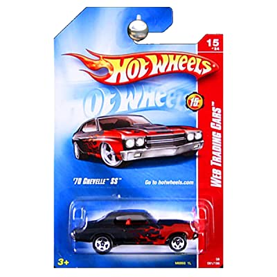 Hot Wheels 70 Chevelle Ss 2008 Web Trading Cars #15 Black with Red Flames[toy]: Toys & Games