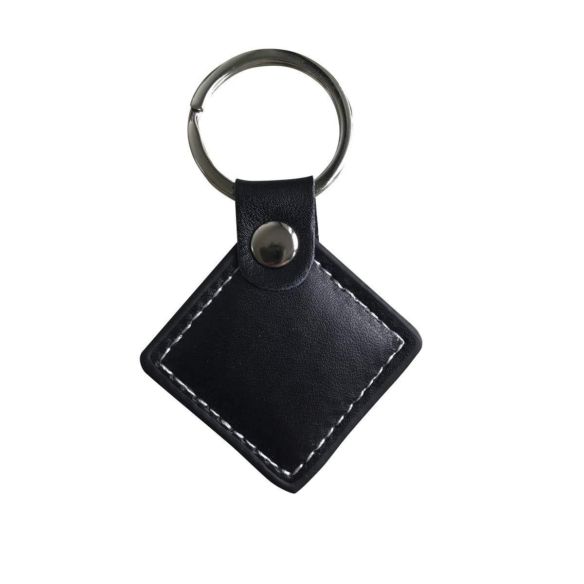 YARONGTECH 125KHz EM4100 RFID de piel sólo lectura marrón color llavero (Pack de 2)