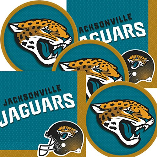 Jacksonville Jaguars NFL Football Team Logo Plates And Napkins Serves 16 ()