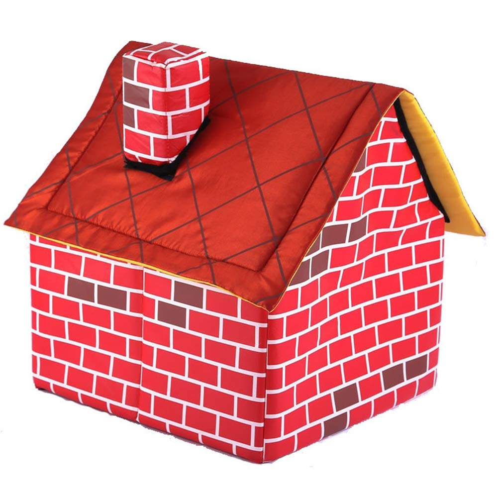 RONSHIN Household Supplies Red Brick Dog House Detachable Washable Dog Bed Single Room Chimney House Dog Kennel Cattery Tent Nest Dogs Cats Home
