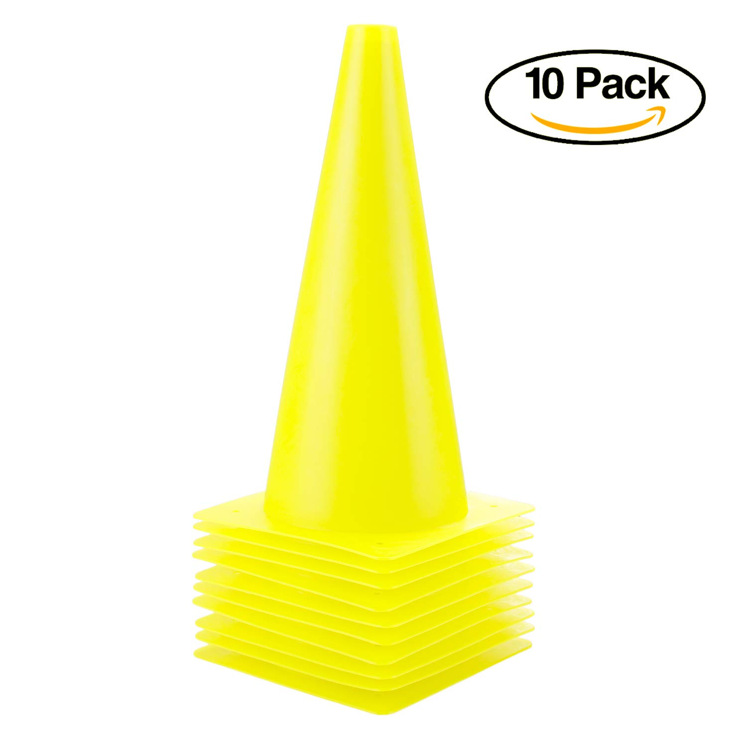 12 inch Traffic Cones – 10 Pack of Field Marker Cones for Outdoor Activity & Festive Events (Yellow) 61qWXbNXUTL