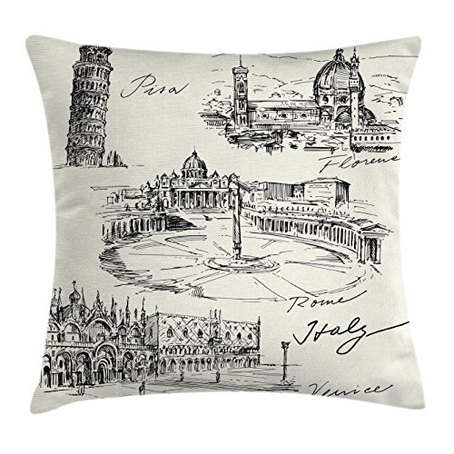Black Italian Couch (Ambesonne Sketchy Throw Pillow Cushion Cover, Travel The World Themed Historical Italian Landmarks Venice Rome Florence Pisa, Decorative Square Accent Pillow Case, 16 X 16 inches, Black White)