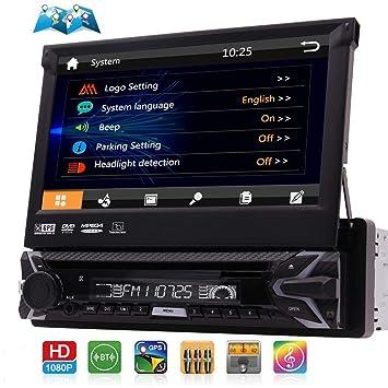 Din sola est¨¦reo Bluetooth coche con HD Radio, 7 pulgadas de pantalla