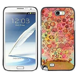 TopCaseStore / la caja del caucho duro de la cubierta de protección de la piel - Flowers Nature Drawing Pattern - Samsung Galaxy Note 2 N7100