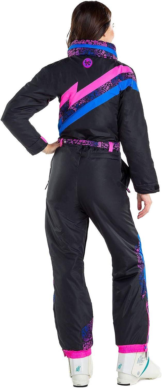 Tipsy Elves Womens Black Nightrun Retro Ski Suit Old School Snowsuit for Female
