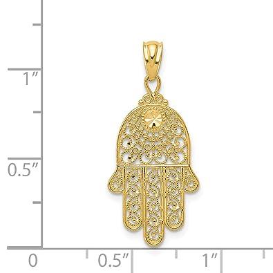 f975c628e983f8 Amazon.com: 14k Yellow Gold Hand of God Chaemseh Hamsa Pendant: Jewelry