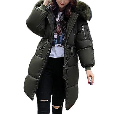 250276d227c Tiowea Women Winter Jacket Warm Artificial Fur Hooded Jacket Long Down  Jacket Coat (Army Green