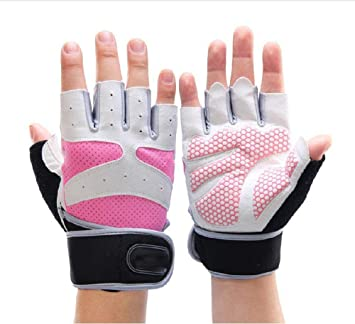 Hjyi Guantes de gimnasio para levantamiento de pesas, guantes de entrenamiento de gimnasio, guantes de medio dedo para hombres y mujeres, mancuernas ...